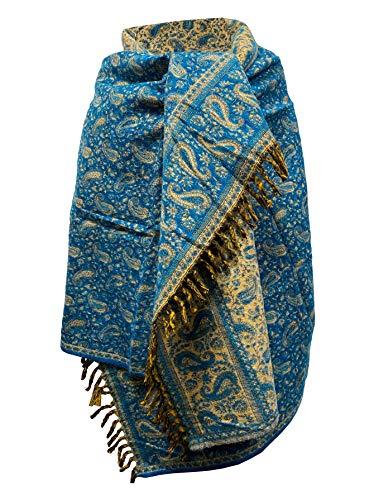 Handgefertigter luxuriöser Winterschal, himmelblauer Schal als Dekoration, Decke, Übergröße, wendbar, Winterschal, reine Yak-Wolle