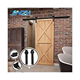 6FT/183cm Sliding Barn Door Hardware Track Set Sliding Door Kit Closet Set for Single Door,Black J-Shaped Hangers
