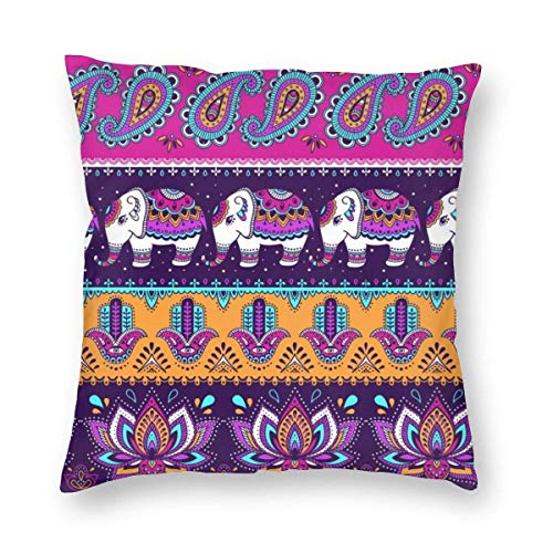 lucies Hamsa and Elephant Decorative Square Throw Pillow Covers Soft Soild Cushion Cases for Sofa Bed Chair 18 X 18 in