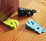 ChezMax Rubber Door Stopper Security Door Stop Gate Wedge Cute Door Holder Decorative Doorstop for Kid's Bedroom Playing Room Green