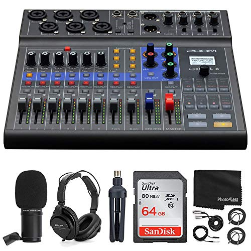 Zoom LiveTrak L-8 Portable 8-Channel Digital Mixer and Multitrack Recorder + Zoom ZDM-1 Mic with Headphones, Windscreen and Stand + 64GB Memory Card + Cables – Deluxe Podcasting Bundle