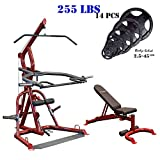 Body-Solid #GLGS100 Corner Leverage Gym with #GFID100 Bench (Red Frame) (with Black Olympic Plates Set, 255-Pound)