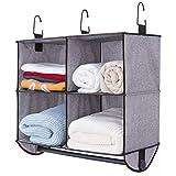 StorageWorks Hanging Closet Organizer with Garment Rod, 4 Section Closet Hanging Shelves, ...