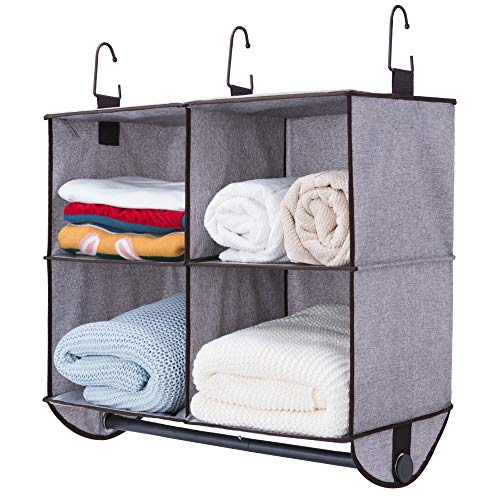 """StorageWorks Hanging Closet Organizer with Garment Rod 4 Section Closet Hanging Shelves Fabric Mixing Brown and Gray 24""""W x 12""""D x 19""""H"""