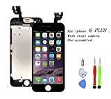 Premium Screen Replacement Compatible with iPhone 6 Plus 5.5 inch(Model A1522, A1524, A159) with Front Camera, Ear Speaker and Sensors. (Black)