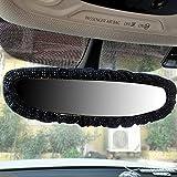 Car Accessories for Women Interior Cute Glitter Black Rearview Mirror Charm Decor Sparkly Crystal Rhinestone Elastic Plush Decorative Cover (black)