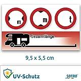 SOTRO Wohnwagen/Wohnmobil Aufkleber, Abmessungen (Höhe Breite Länge) & Gewicht, Format 9.5x5.5 cm