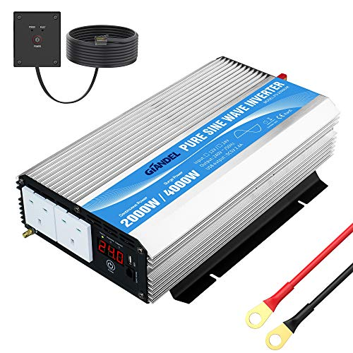 Giandel 2000W Pure Sine Wave Power Inverter DC 24V to AC 240V with Dual AC Outlets with Remote...