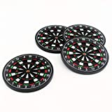 Novelty Dart Board Drink Coasters Unique 4 Set for Home Kitchen Office Wedding Party, Cute Cool Non Slip Beer Custom Mat
