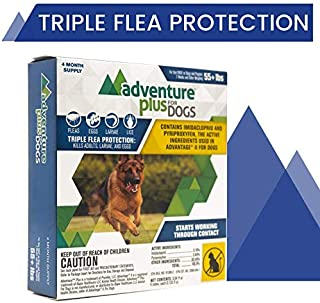Adventure Plus Triple Flea Protection for Dogs, X-Large 55+ lbs, 4 Months, 4 Doses