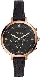 Fossil Hybrid HR Smartwatch, Monroe Roségoudkleurig Roestvrij Staal met Zwart Leren Bandje voor Dames, FTW7035