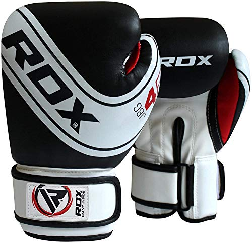 RDX Kids Boxing Gloves for Training & Muay Thai, Maya Hide Leather Junior 4oz, 6oz Mitts for Sparring, Fighting & Kickboxing, Good for Youth Punch Bag, Grappling Dummy and Focus Pads Punching