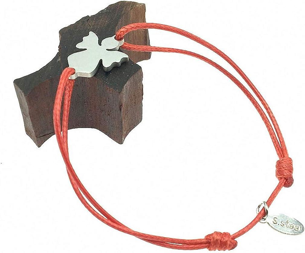 Hynsin Stainless Steel Charm Cord Bracelet Adjustable String Lucky Bracelet Stainless Steel Bracelet for Women Girls