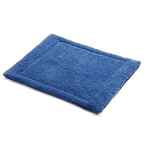 ALLISANDRO Hundematte waschbare Hundebett Hundedecke hygienische rutschfeste und weiche Decke 100x75cm 120x75cm mit kuscheligem Sherpa Oberfläche Blau
