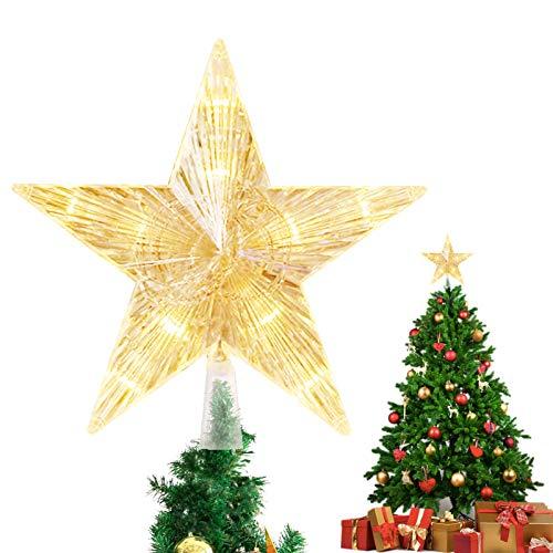 Weihnachtsbaum Stern,Topper Lichter mit 10 LED ,Weihnachtsbaumspitze glitzernder,baumkronen Lampe,beleuchtete Sterne,funkelnden Sterne,Weihnachtsbaumspitze Dekoration,Weihnachten Dekoration(15cm)