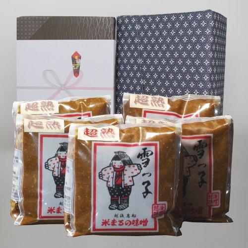 【お土産】雪っ子 超熟味噌(1kg×5袋セット)/辛口味噌を長期間熟成させた昔ながらの味