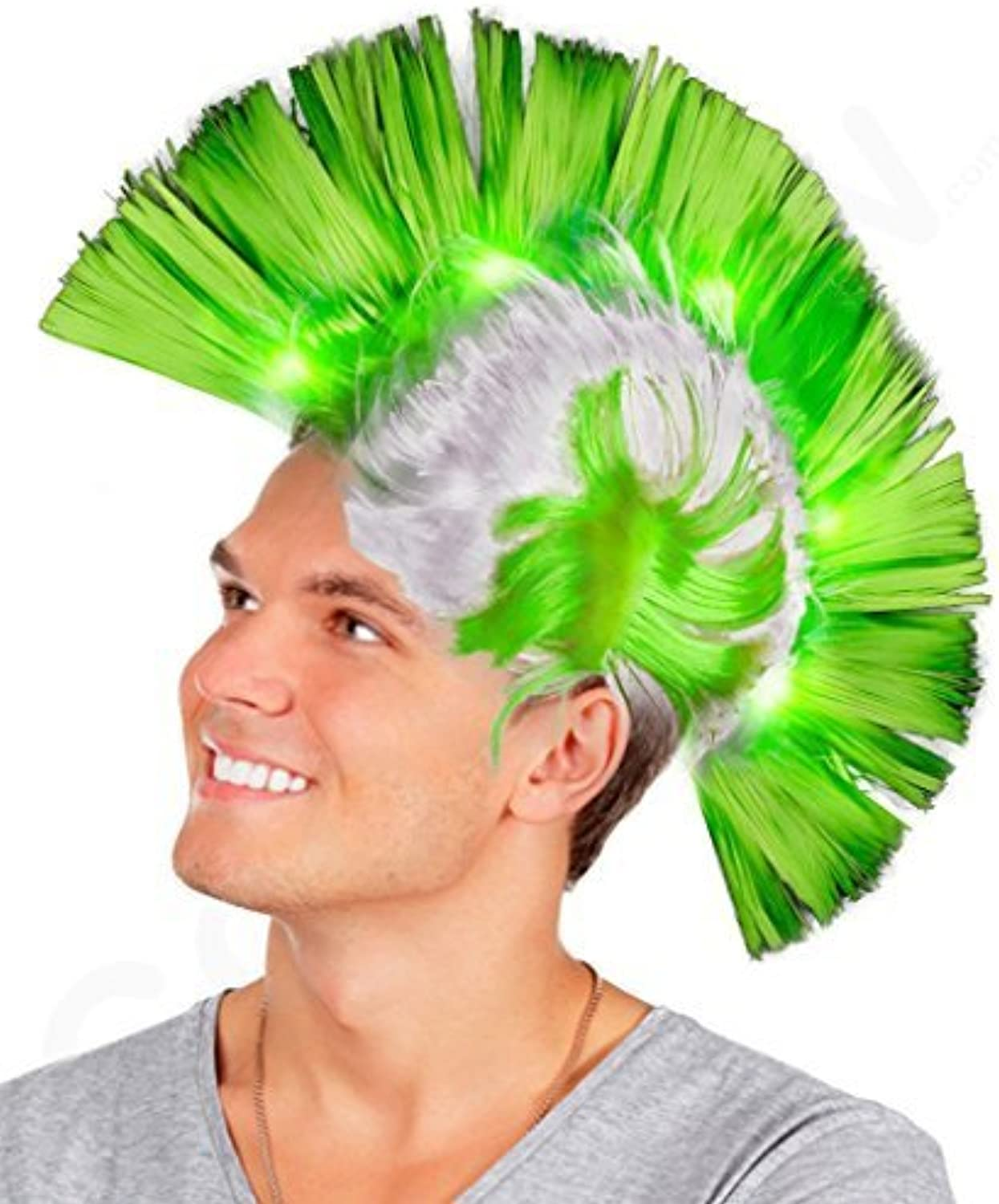 LED Mohawk Wig  Green by Coolglow