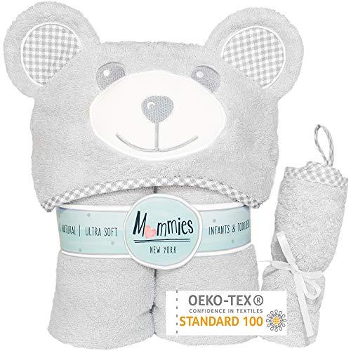 Toalla de bebé premium con capucha y toallita de regalo – Toalla de baño de bambú orgánico – Orejas de oso – Suave y grande con capucha para bebé, niño pequeño – Unisex para niño o niña – Gris