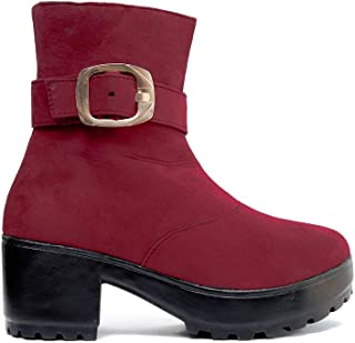 Hanna Women's Synthetic Leather Ankle Boots | High Ankle Length Casual Boots for Girls | High Neck Shoes for Girls | Women...