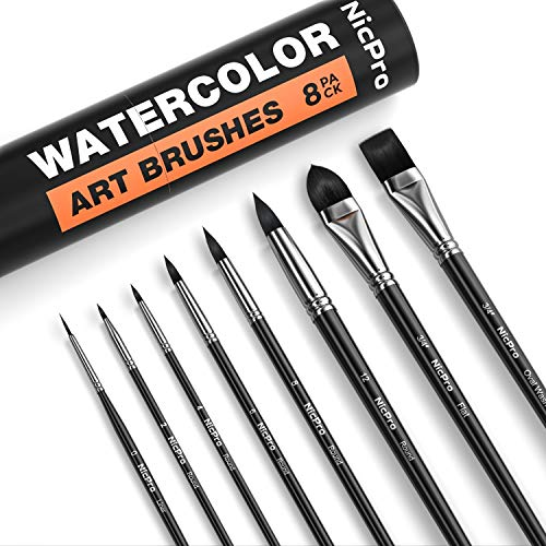 Nicpro 8 PCS Professional Watercolor Paint Brushes Set, Artist Synthetic Fine Squirrel Brush Round Tip for Detail, Gouache, Acrylic,Oil Painting