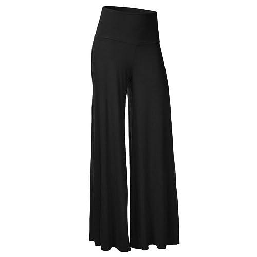 ZKOO Mujeres Ancho Pierna Palazzo Pantalones Cintura Elástica Holgados  Flojos Suave Casual Verano 848a6598efd1