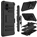 Galaxy A71 5G Case, Yunerz Holster Heavy Duty Shockproof Full-Body Protective Hybrid Case Cover with Swivel Belt Clip and Kickstand for Samsung Galaxy A71 5G 6.7inch (Black)