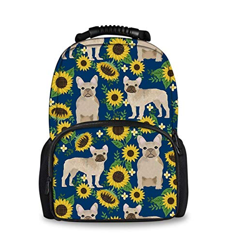 Casual College School Daypack, Large Capacity Daypack for Gym Travel Running, French Bulldog Sunflowers Travel Hiking Backpack for Girls Boys - Back To School Gift