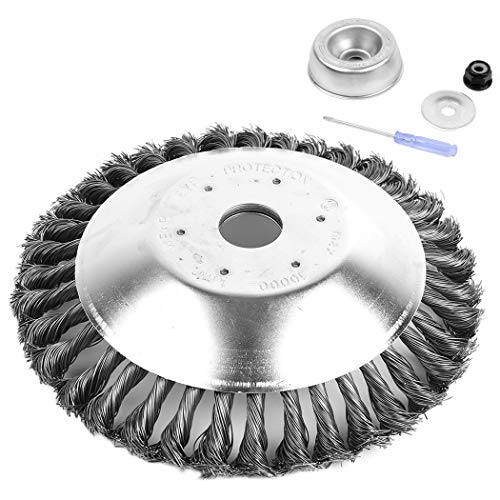 AR-PRO 8-Inch Rotary Steel Wire Weed Brush Blade with Universal Adapter Kit - Round Steel Wire Brush Compatible with Husqvarna, Stihl, Ego, Oregon, and Hitachi Straight Shaft Trimmers