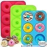 Walfos Molde para Donut de Silicona, Juego de 3 Molde de Silicona Donut, 6 Cavidades Rosquillas...