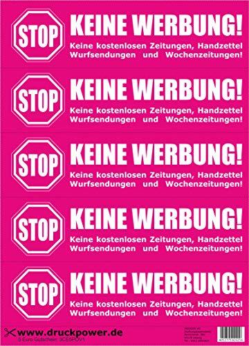 Keine Werbung! 5 różowych naklejek na skrzynkę na listy - bez darmowych gazet, książeczek ręcznych, przesyłek rzucanych i tygodniowych gazet.