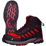 Botas de Trabajo Nitras 7411 Pro Step II - Botas de Seguridad S1P para Hombres y Mujeres - Puntera Resistente al Agua y Zapatos Antideslizantes - Negro/Rojo, Tamaño 41