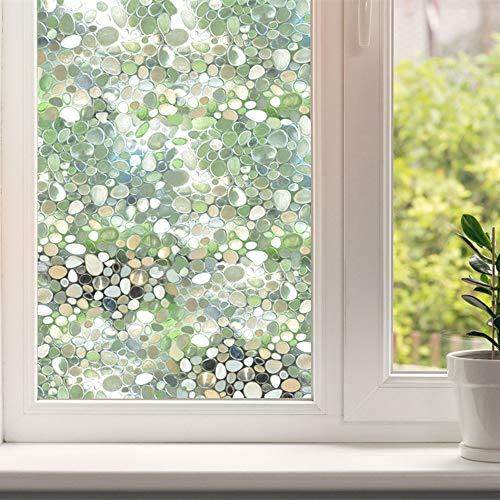 DUTISON 3D Fensterfolie Selbstklebend Blickdicht Sichtschutzfolie Fenster Dekorfolie Milchglasfolie ohne Klebstoff für Bad Küche Büro (3D Kopfsteinpflaster, 44 * 200cm)