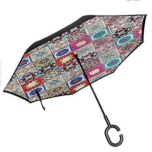 Anyangeight Emoji Large Double Layer Inverted Big C-Shaped Handle Kitty Faces Pink Hearts Better Than Most Umbrellas Windproof UPF50+ Big Straight Umbrella, 42.5'x31.5'Inch