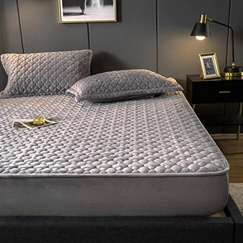 OQQE 1 Funda de colchón con sábana Ajustable sólida de Franela Gruesa de Cuatro Esquinas con sábana de Banda elástica, Gris Claro, 120x200x30cm