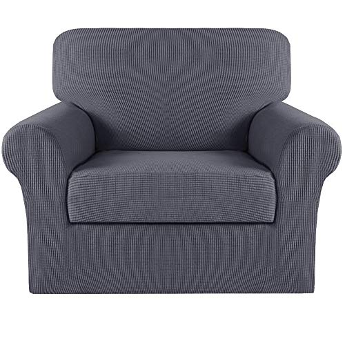 Turquoize 2 Piece Sofa Covers Chair Cover Couch Covers Slipcovers Furniture Protector for Living Room Arm Chair Slipcover with Elastic Bottom Jacquard Small Check (Chair, Grey)