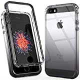 Fotosuncy iPhone SE 2016 Case with Screen Protector, iPhone 5S Case, Hybrid Dual Layer Drop Protection Protective Case for Girls, Boys, Women and Men Black