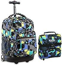 J World Combo Rolling Backpack & Lunch Bag Back to School Bundle Set Sunrise / Corey, Cubes