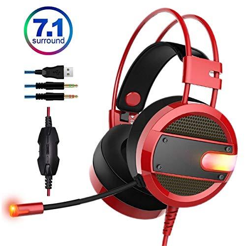 FXMINLHY Gaming Headset Hoofdtelefoon Bass Over-Ear Ruisonderdrukking Bedraad Gaming Headset met Microfoon 7.1 Oortelefoon voor PC PS4 Xbox One Laptop Kids nieuw jaar cadeau Rood