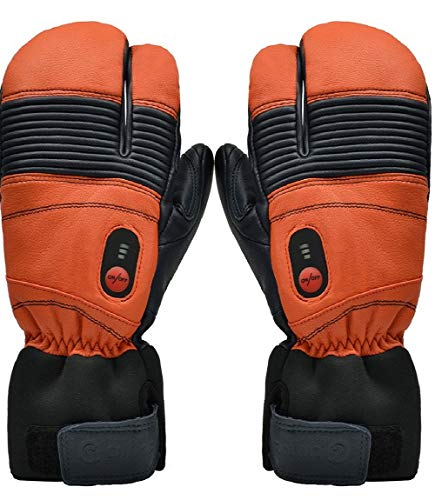 Savior Heated Gloves with Rechargeable Li-ion Battery Heated for Men and Women, Warm Gloves for Cycling Motorcycle Hiking Skiing Mountaineering, Works up to 2.5-6 hours (L, Orange)