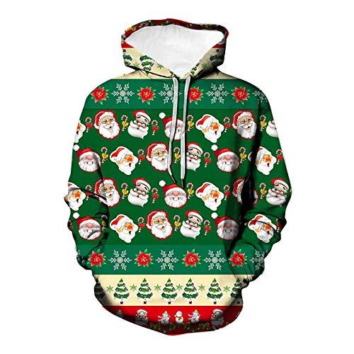 Simmia home Sweat à Capuche 3D Imprimer Pull Sweatshirt,Loose Couple Shirt, Costume de Baseball, Santa de Dessin animé, Vert, 2XL,Décontracté Pullover pour Garçon Fille Ado