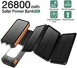 Sendowtek Caricabatterie Solare 26800mAh Power Bank 4 Pannelli Solari Batteria Esterna Pieghevole...