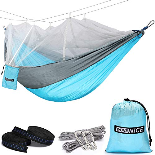 WoneNice Hammock with Mosquito Net, Portable Lightweight Nylon Parachute Multifunctional Hammock with Net and Tree Straps for Camping, Backpacking, Travel, Beach, Yard. (Sky Blue/Grey)