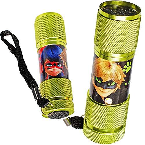 alles-meine.de GmbH Taschenlampe LED - Miraculous - aus Metall - Mini Lampe / Schlüsselanhänger - 9 Fach LEDlicht - Licht Auto Kindertaschenlampe für Jungen Mädchen - Metalltasch..