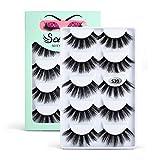 Soararc False Eyelashes Dramatic 5D Faux Natural Mink Eyelashes for Women, Girls Soft Volume Fluffy Handmade Reusable Long Fake Eyelashes 5 Pairs, 5S20