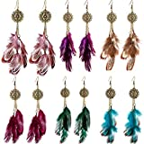 6 pairs women faux feather earrings bohemian fringe tassel long drop dangle earrings set with dream