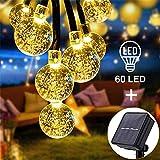 Luces Exterior Solar Cadena de Bola Cristal Luz 11m 60LED, Sendowtek Luces Decorativas Solar de Interior y Exterior para Patio Jardín Boda Fiesta Navidad Luces de Burbuja de Hadas (Blanco Cálido)