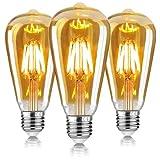 Bombilla Vintage E27 Edison,Retro Edison Bombillas LED Vintage,ST64 Edison Bombillas Decorativas 6W(Equivalente...
