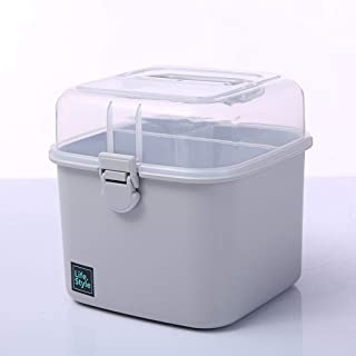 Plastic Household Medicine Box Family Small Medicine Box Storage Box Portable First Aid Kit Medicine Box Medical Box AMINIY (Color : Gray)