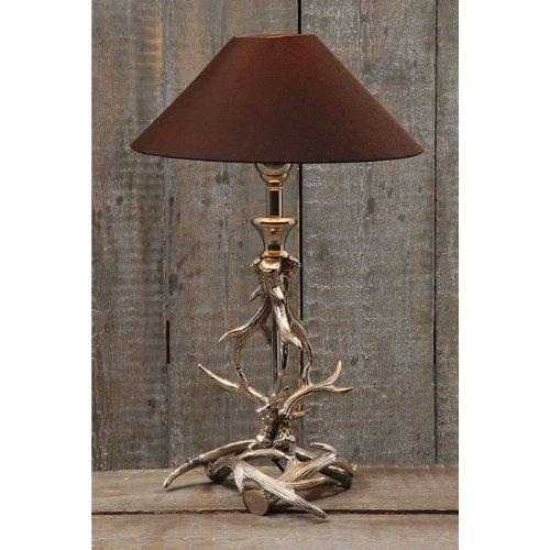 Lampe Tischlampe Geweih Aluminium silber 54cm