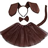Small Dog Costume Set Animal Ears Headband Tail and Bow Tie Fancy Dress Cosplay Props Accessories for Kids Halloween Party (Large,4)